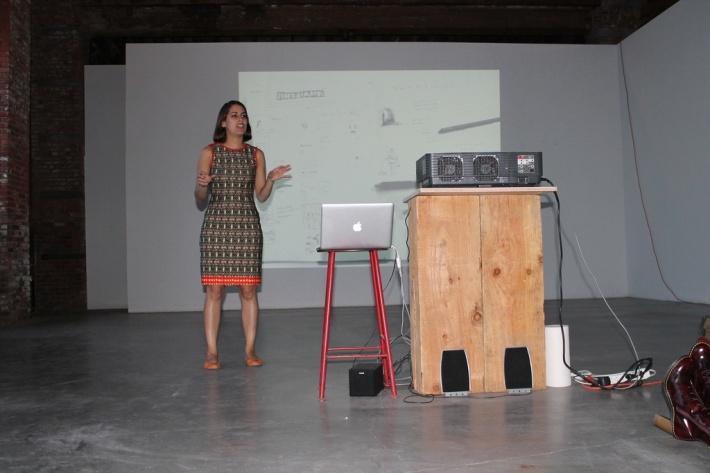 Critical writing fellow Desi presents her work © Recess