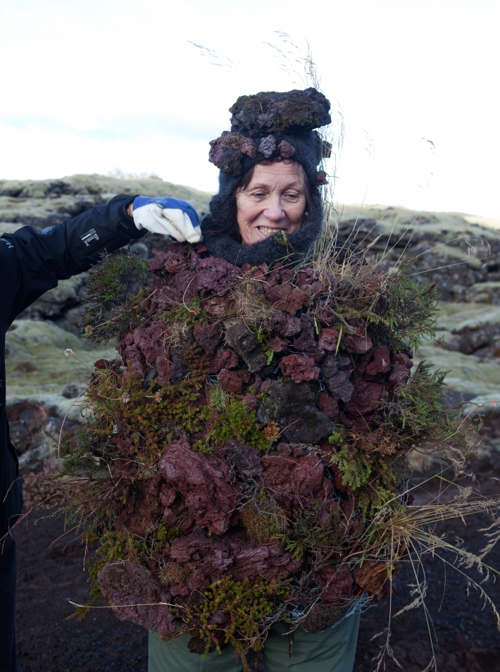 This arrangement weighed at least 12 kilos. Erna posed in it hunkily for more than an hour © Karoline Hjorth & Riitta Ikonen