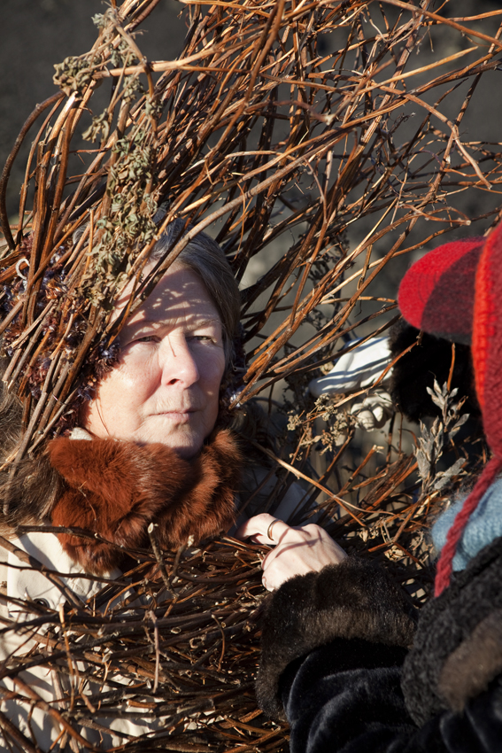 As Riitta was arranging an array of sticks into Lisa's collar, Riitta asked if she new what she had signed up for. She said she had a pretty good idea, as an image of Agnes went along with the newspaper feature © Riitta Ikonen & Karoline Hjorth