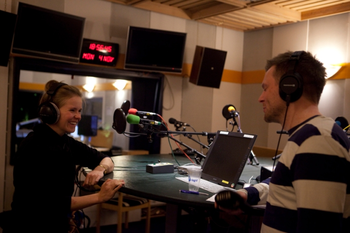 Evening visit to Kringvarp Føroya (FVA) radio for a little interview © Karoline Hjorth & Riitta Ikonen