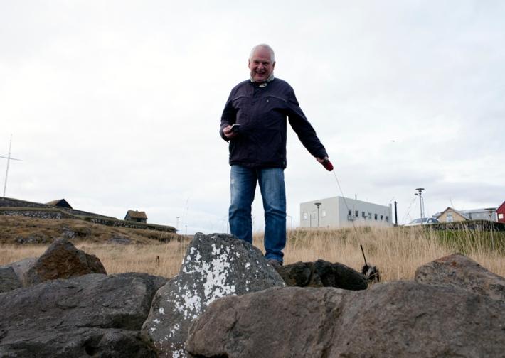 Mortan's very good friend  Jógvan Á Dul, the fiercest Facebooker of the Faroe Islands. He walks around Torshavn, taking some 50-60 photos every morning, posting them on Facebook © Riitta Ikonen and Karoline Hjorth