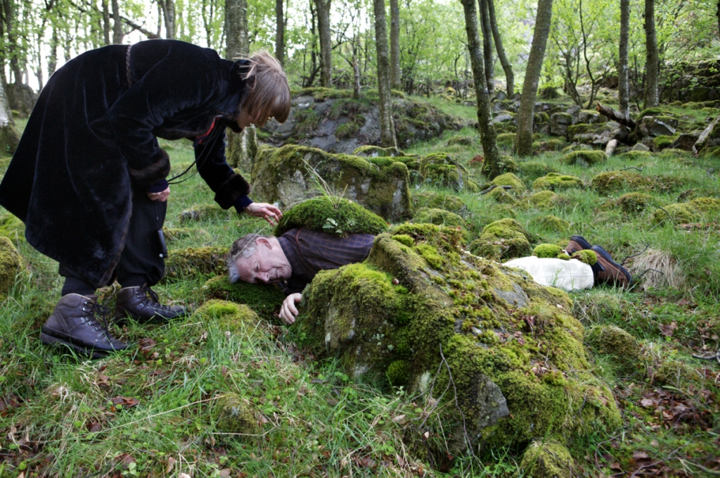 We had read a folktale where the protagonist lay on the ground, listening to the grass growing. Torleiv agreed to illustrate this moment (translated from grass to moss). He continues to travel the Nordic countries in the name of research and inspiration and is a fountain of anecdotes and folklore knowledge.