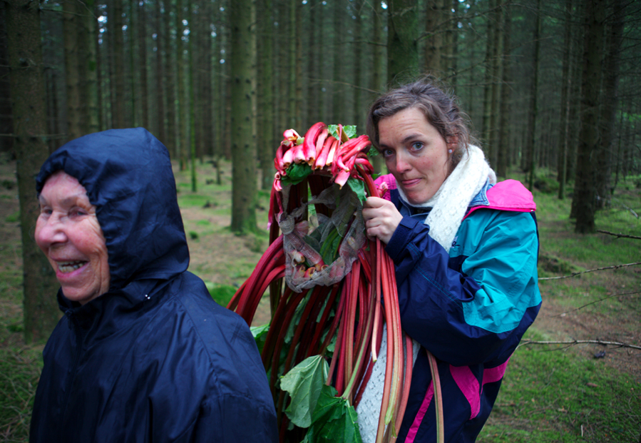 Karoline was worried the sheer weight of the rhubarb headdress would be too much for even herself to wear. Astrid just giggled, stepped into the mindset of a rhubarb huldra and walked into the woods. © Karoline Hjorth & Riitta Ikonen